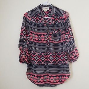 Wishful Park Tribal Blouse Pink Blue Size M